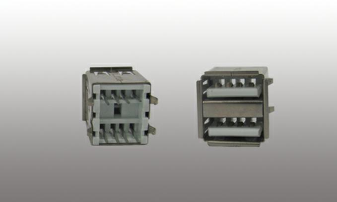 USB 2.0 连接器AF180度双层直插短体连接器